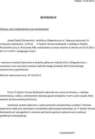 Referencje ppoz Szpital Głogów
